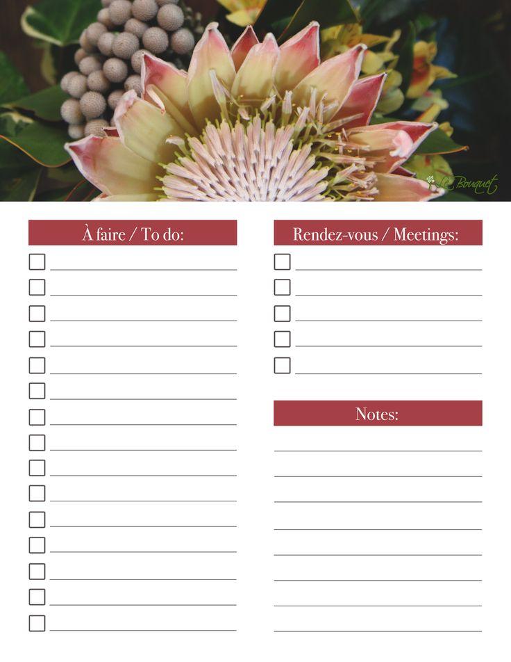 Proteas are so beautiful!   Free bilingual printable daily organizer - Agenda quotidien imprimable - by Le Bouquet St. Laurent, Inc.