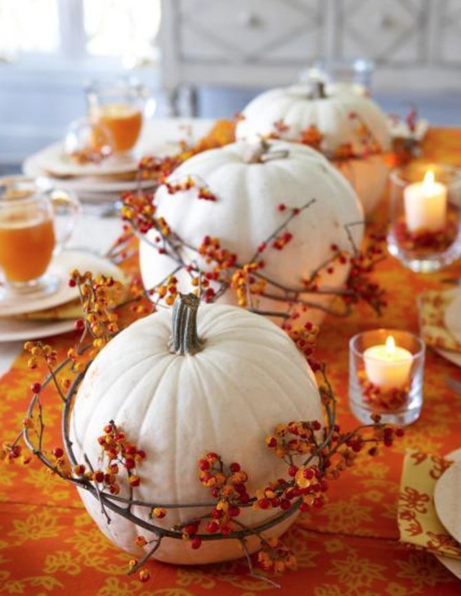Wrap white pumpkins in bittersweet vine | 10 Brilliant Ways to Decorate for Fall That Won't Blow Your Budget
