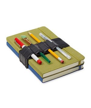 Bike Tube Journal Bandolier — Made from a bike inner tube this strap keeps your writing utensils at hand.