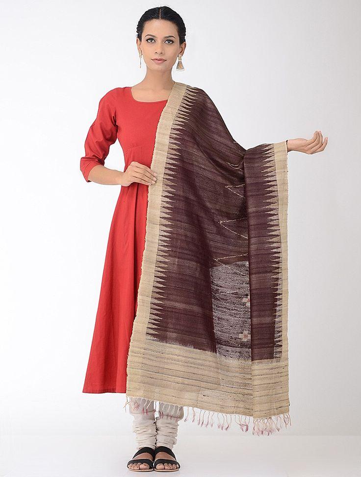 Buy Burgundy Beige Ikat Tussar Silk Dupatta Dupattas Woven A Romance Sambalpuri cotton sarees with borders & Online at Jaypore.com