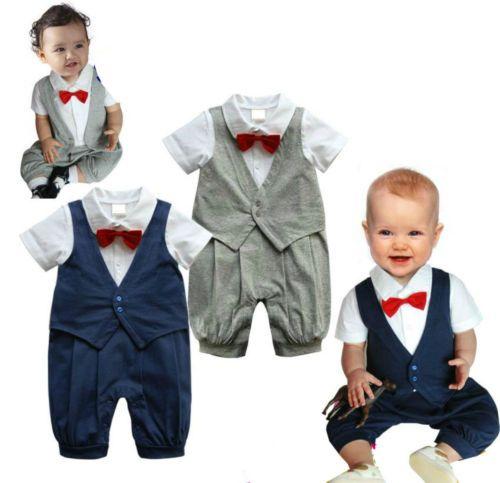 Baby Boys Suit Christening Wedding Formal DAY Romper Navy Grey Super Sale | eBay