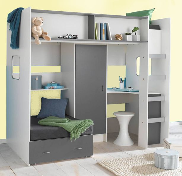 Childrens and teenagers high sleeper bed with Futon style bed, wardrobe and desk - compact!