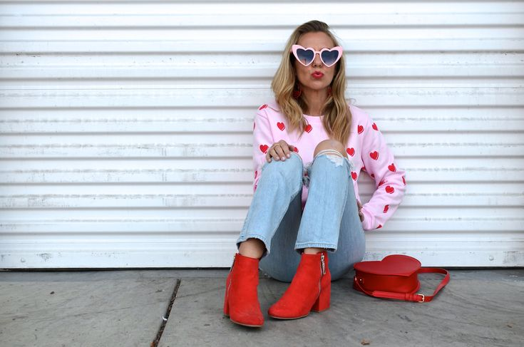 VALENTINE'S DAY GIFT GUIDE - Jaclyn De Leon Style + what to wear this Valentine's day + heart sweatshirt + forever 21 + red boots + target style + distressed denim + cat eye sunglasses + heart shaped sunglasses + casual style + heart purse + mom style + street style look + spring style + style inspo