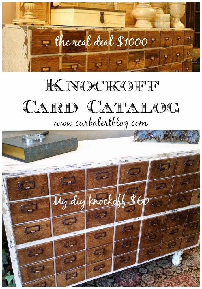 DIY Knockoff Card Catalog in Annie Sloan Old White and Minwax English Chestnut via Curb Alert! blog www.curbalertblog.com