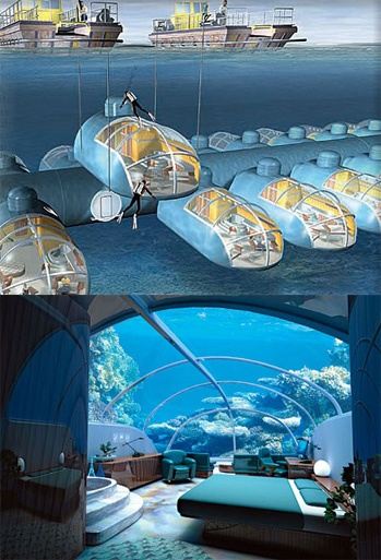 FIJI - Poseidon Undersea Resort you litterly sleep in a little submarine under the sea, in the middle of a Fijian reef.