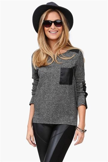 Leather Patch Sweatshirt in Charcoal and Black