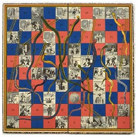 Game, snakes & ladders, 1895. Victoria & Alberts Museum no. misc.423-1981