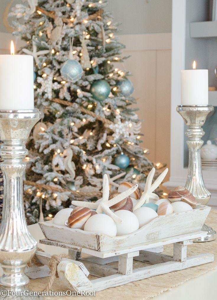 our coastal christmas dining room coastal decor pinterest coastal christmas christmas and christmas decorations