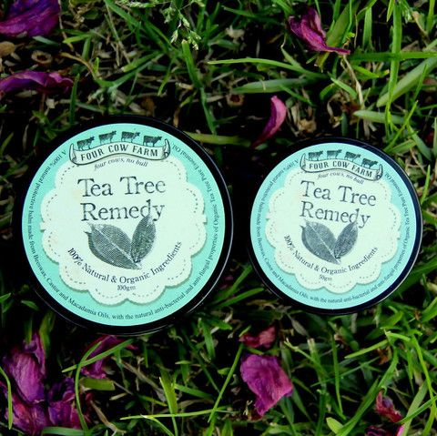 Tea Tree Remedy for sensitive skin - Four Cow Farm  Four Cow Farm Tea Tree Remedy is excellent as an effective and gentle all-natural salve for soothing and protecting problem skin, such as skin affected by nappy rash, mosquito bites, scrapes, cuts and bruises. It makes a fantastic everyday emergency balm, perfect for soothing inflamed or itchy skin.