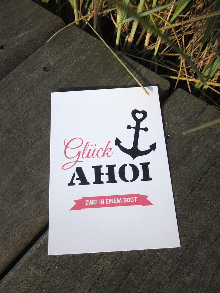"""Postkarte """"Glück Ahoi"""" vom Inselmädchen #Hochzeit #Maritim"""