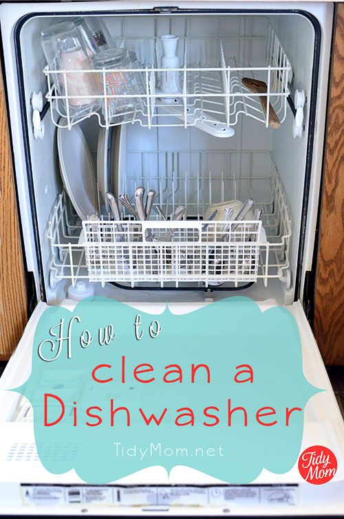 Simple steps for cleaning your dishwasher and free printable via @TidyMom