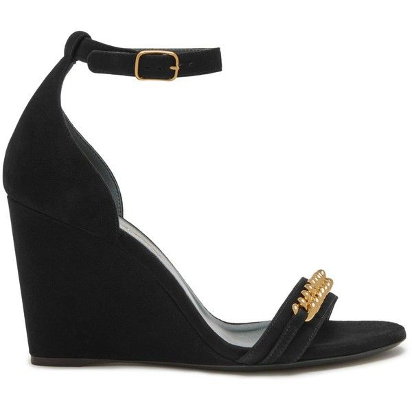 Mulberry Grace Chain Wedge Sandal ($635) ❤ liked on Polyvore featuring shoes, sandals, black, platform wedge shoes, wedge shoes, black sandals, black wedge heel sandals and wedge heel sandals