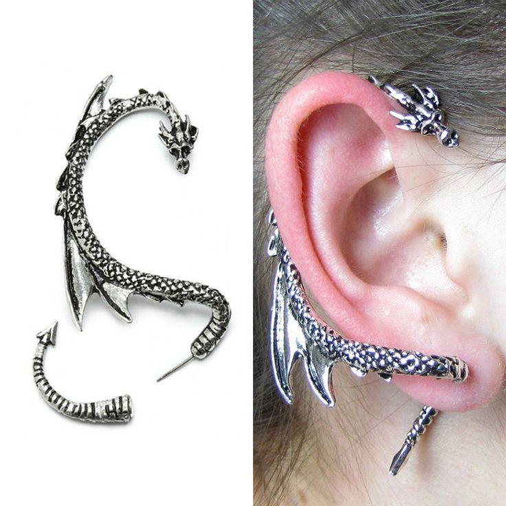 New Fashion Silver Dragon Snake Ear Cuff Punk Clip Wrap Lure Gothic Stud Earring
