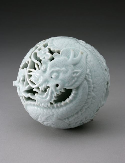 Reticulated water dropper in the form of a dragon    19th century    Korean, Joseon Dynasty    Glazed porcelain    Herbert F. Johnson Museum of Art #KoreanCeramics