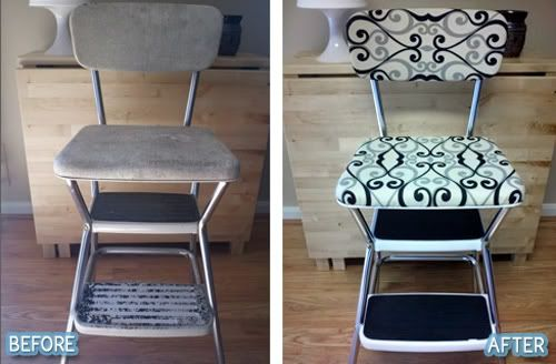 Restored Cosco Chair black and white.  Chairfully Cheerful!