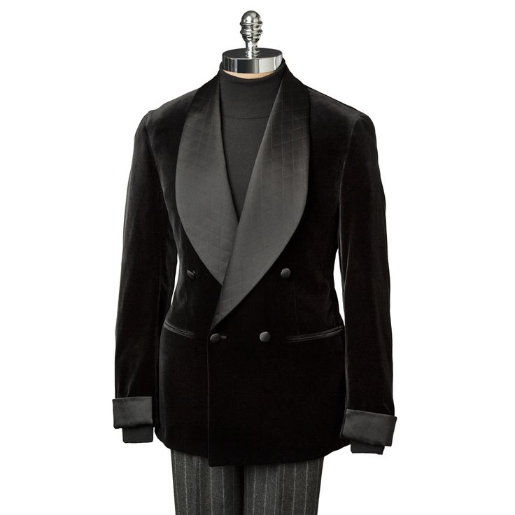Handsome Black Velvet Quilted Satin Shawl Collar & Gauntlet Double Breasted Dinner Jacket. Smoking Jacket! Pull Out the Heavy Chalk Stripe Cashmere Charcoal Trousers & a Pair of Stubbs & Wootton's as Go With's, Shirtings are Up to You. www.paulstuart.com