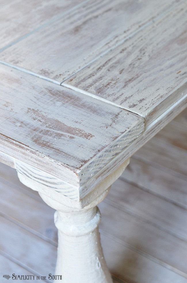 Distressed coffee table painted with MMS milk paint in Grain Sack and distressed with a wet rag