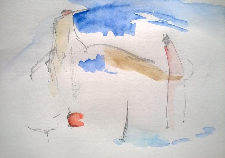 """""""Mluvím se psem a ten mi rozumí"""" akvarel, tužka, papír"""