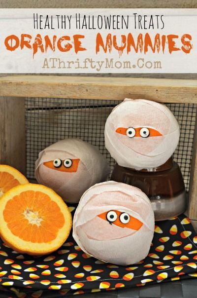 Healthy Halloween treat ideas, ORANGE MUMMIES #Mummy, #Fruit, #Halloween