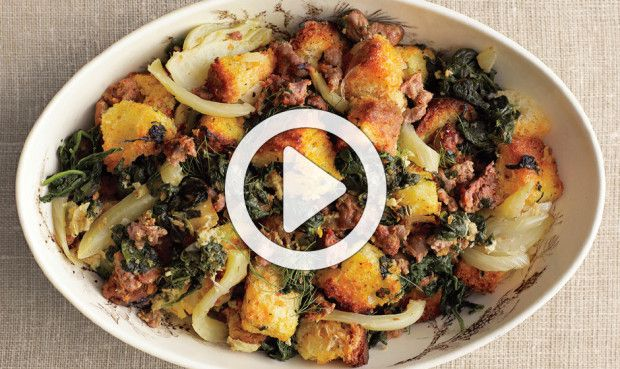 Spinach, Fennel, And Sausage Stuffing With Toasted Brioche Recipes ...