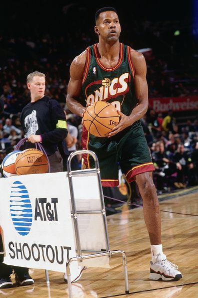 Dale Ellis of the Seattle Supersonics shoots during the three point contest as part of NBA AllStar Weekend on February 7 1998 at Madison Square...