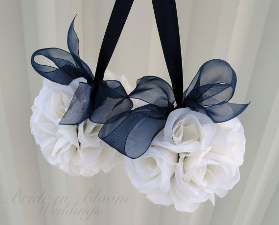 Wedding flower ball pomander navy blue Wedding decorations Ceremony Aisle pew markers