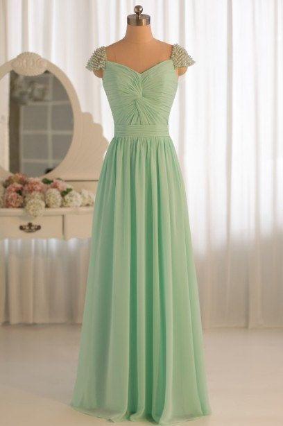 Cap Sleeve Sweetheart discount bridesmaid dresses, long prom
