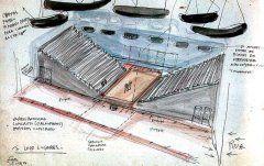 Croqui do teatro do Sesc Pompéia. Nos anos 1980, as cores e a criatividade de Lina transformaram uma fábrica desativada em centro de cultura e lazer