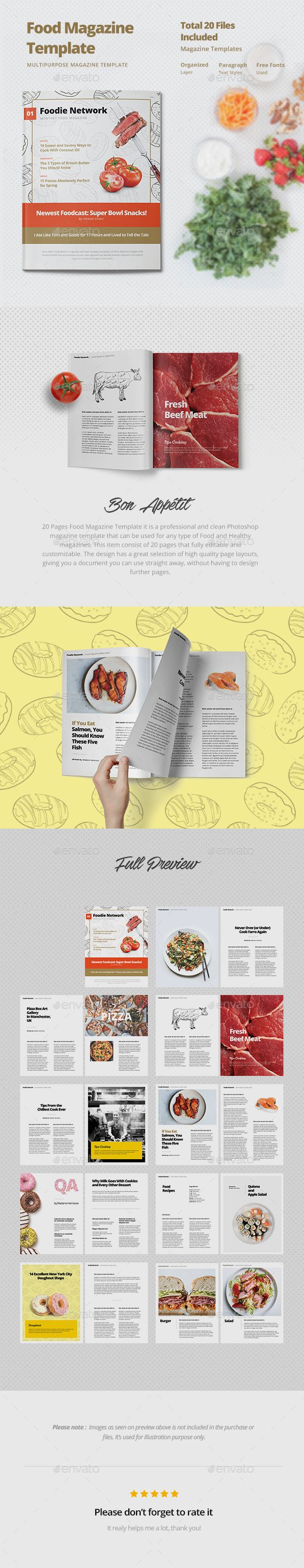 Layout photoshop web design website template tutorials tutorial 022 - 20 Pages Food Magazine Template Psd Download Here Http Graphicriver