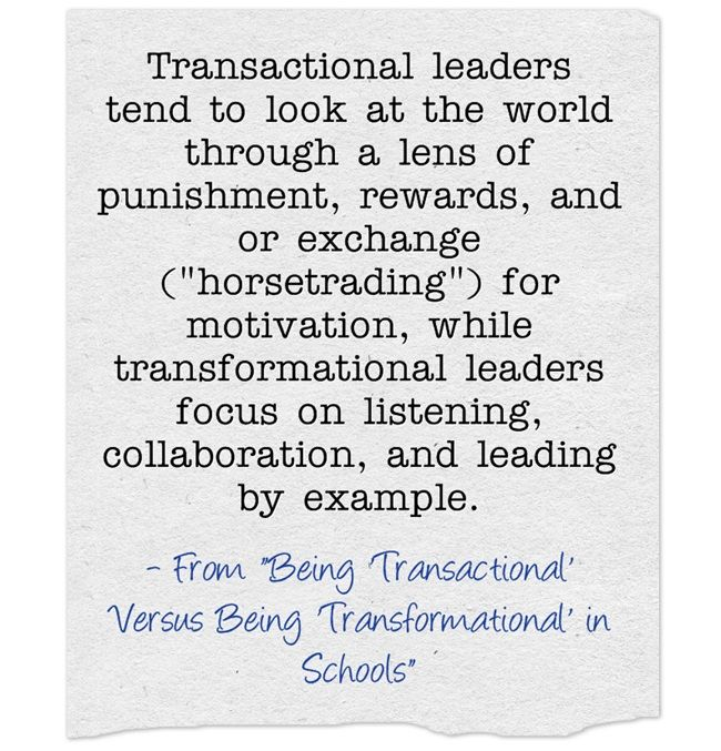 transactional and transformational leadership Transactional leadership is perhaps most similar to transformational leadership, and the two managerial styles are often compared  simply put, transformational leaders focus on influencing others, while transactional leaders focus on directing others.