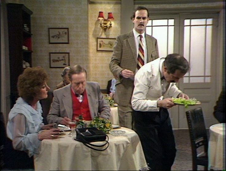 """John Cleese as Basil Fawlty and Andrew Sachs as Manuel, Fawlty Towers, """"Waldorf Salad"""""""
