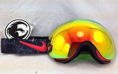 New Dragon x Nike Colab APX Snow Goggles Grunge W Red Ion & Yellow Blue Ion Lens