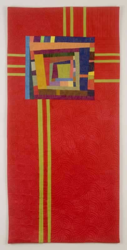 RED TOTEM  42X20  fabric art  by Cindy Grisdela  Love the divine simplicity of this piece.