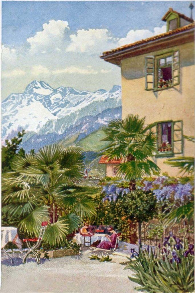 Altes Gemälde von der Pension Ottmanngut in Meran