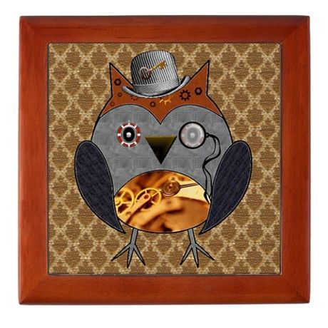 Steampunk Owl Keepsake Box on CafePress.com