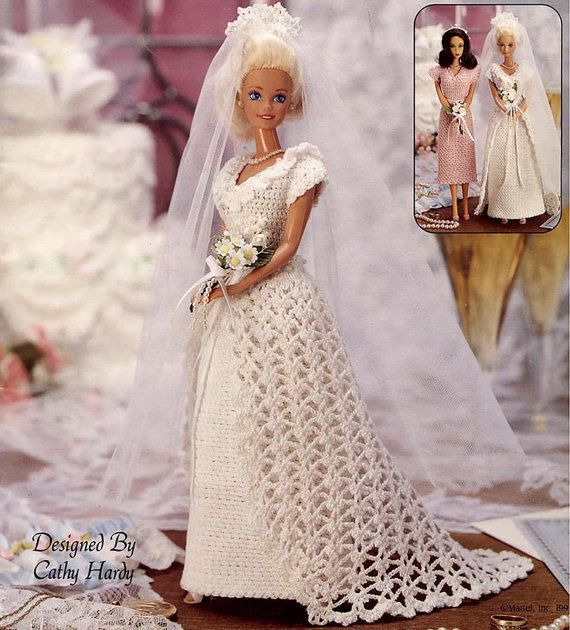 Vintage Crocheted Fashion Doll Clothes Patterns, Wedding Gown, Veil, Bridesmaid Dress, Victorian Ensemble & Lots More. Barbie Size via Etsy
