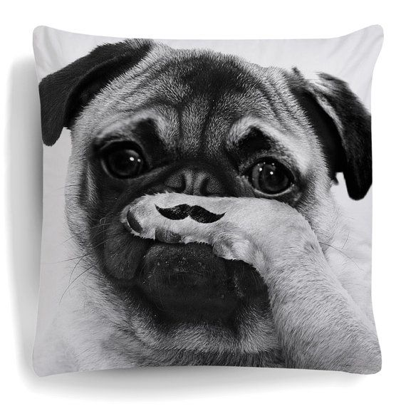 Pug Cushion This Pillow was inspired by a famous photo. A great fashionable cushion features a Pug holding its paw to its nose with a Moustache drawn