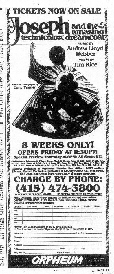 """Promotional Ad for the Premiere San Francisco Production of the Andrew Lloyd Webber / Tim Rice musical """"Joseph and the Amazing Technicolor Dreamcoat,"""" which ran from May 6 thru June 12, 1982 at the Orpheum Theatre."""