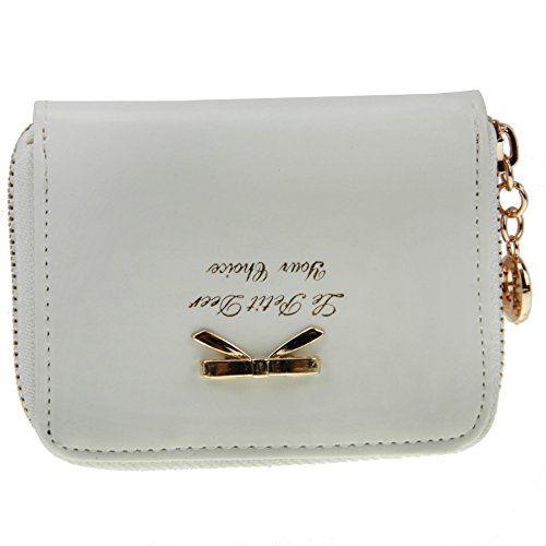 0c301fc0d73008 FakeFace Damen Geldbörse Geldtasche Reißverschluss Schleife Bowknot  Münztasche Clutch Handtasche Kleingeldtasche (Weiß). Abmessungen