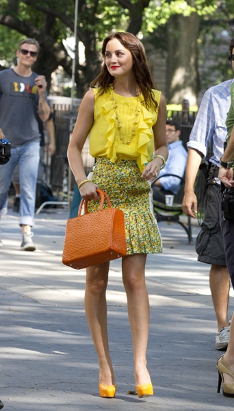 Leighton Meester films Gossip Girl in to-die for fashions
