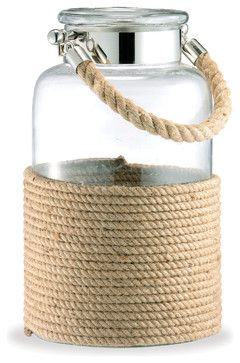 Spring Lake Coastal Style Glass and Cord Apothecary Candle Lantern - L beach style candles and candle holders