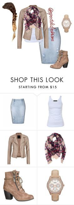 """Apostolic Fashions #937"" by apostolicfashions on Polyvore featuring Ally Fashion, Tusnelda Bloch, maurices and FOSSIL"