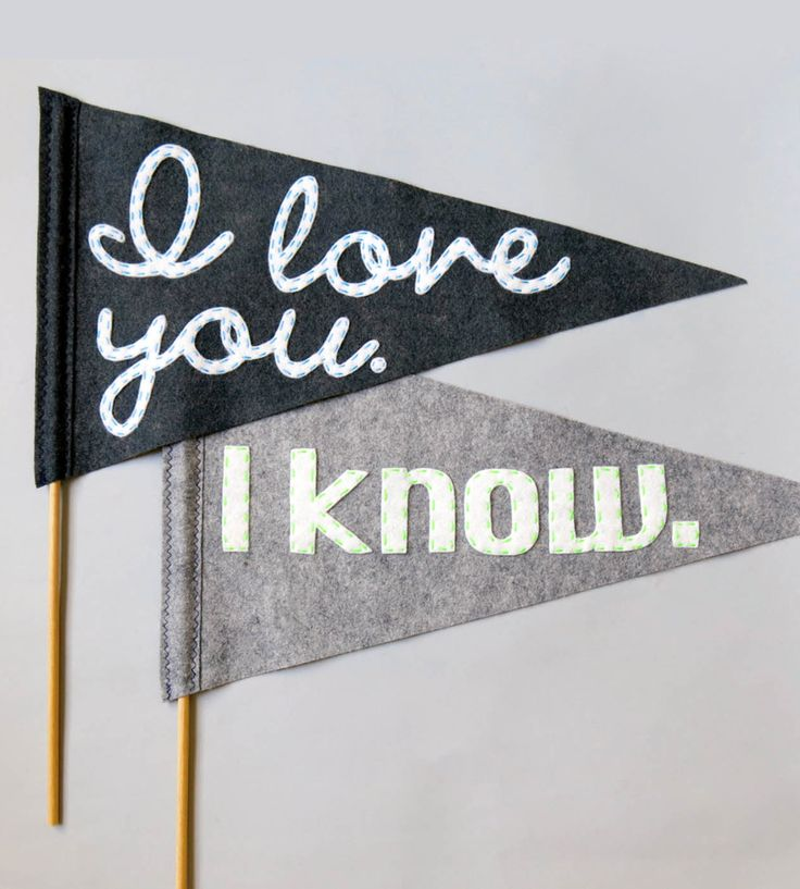 Large I Love You Felt Wedding Flags in Collections by betawife on Scoutmob Shoppe. This delightful set of flags is hand-cut and hand-stitched from high-quality felt. Perfect for wedding photos or an engagement shoot.