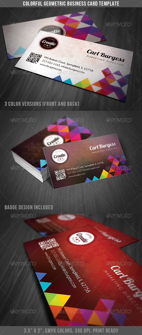 Colorful geometry business card template card templates business colorful geometry business card template card templates business cards and template reheart Image collections