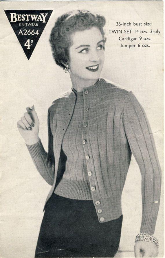 (SOLD) 1940s Bestway A2664 Knitting Pattern  Lady's twin set by PatternaliaVintage