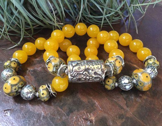 Rich Yellow Agate Gemstone Triple Stretch by JewelrybyKellyWalker