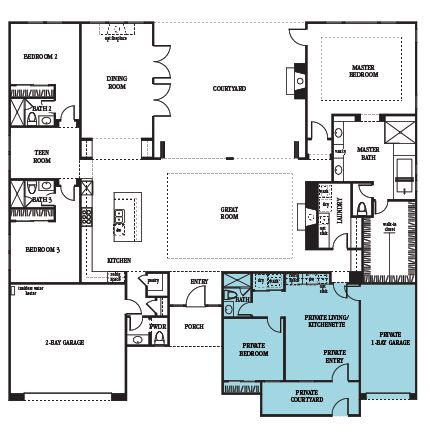 3475 Next Gen by Lennar: 4 bedrooms and 4.5 bathrooms, including a separate Next Gen Suite with a Private Courtyard Entry, Living Area, Kitchenette, Laundry and One Bay Garage!
