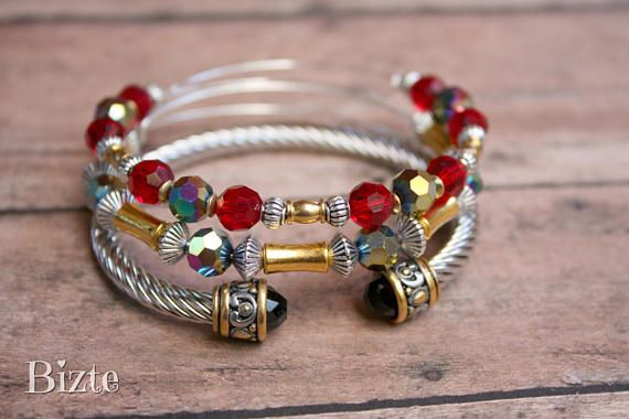 Adjustable Red Black Aurora AB Crystal Swarovski  Gold Bamboo