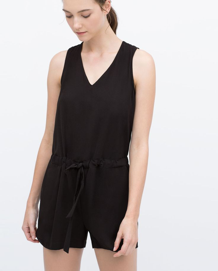 SHORT JUMPSUIT WITH BOW AT WAIST-Jumpsuits-WOMAN | ZARA United States