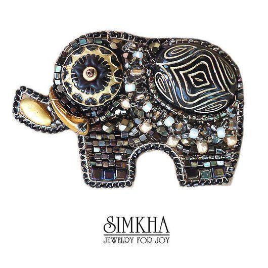 Brooches handmade. Livemaster - handmade. Buy Brooch 'Gold elephant at dusk'.Black, gift girl